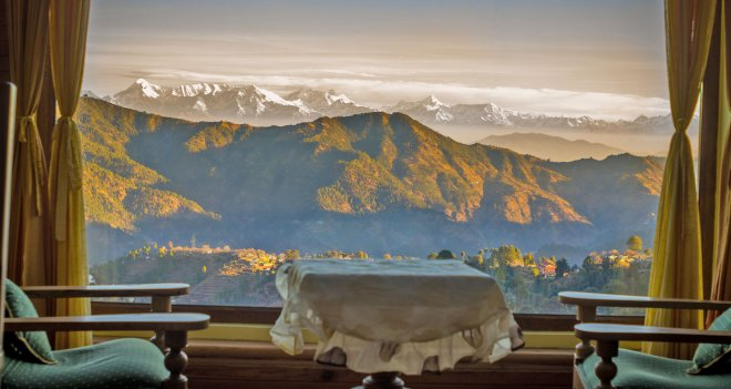Enjoy the views of snow laden peaks of the Himalayas just by sitting in your room